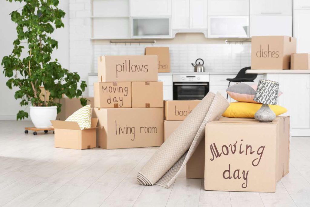 Packed boxes, a plant, and a rolled carpet in the white kitchen